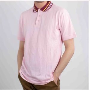 MENS PINK STRIPED POLO